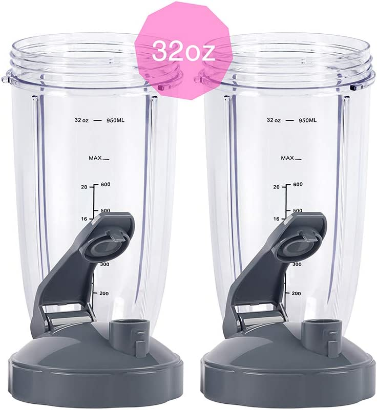 Blender Replacement Parts, 32OZ Cup with Flip Top To Go Lid, Compatible with Nutribullet 600W 900W Blenders (2 Pack)