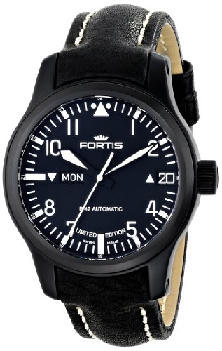 Fortis Men's 655.18.91 L.01 B-42 Flieger Big Date PVD Black Automatic Day and Date Leather Watch
