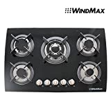WindMax(R) Europe 30 inch LPG/NG Tempered Glass 3.3KW/h Built-in Kitchen 5 Burner Oven Gas Cooktops Stove Cook Top