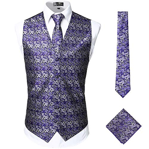 ZEROYAA Mens Classic 3pc Jacquard Paisley Vest Set Necktie Pocket Square Waistcoat for Suit or Tuxedo ZLSV08 Purple Silver Small