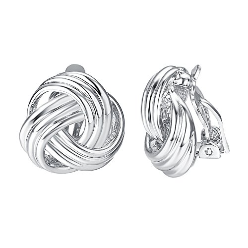 Yoursfs Classic Clip On Earrings Celtic Scottish Style Sliver Tone 80s button earrings round knot clip on costume jewelry ()