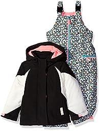 Carter\'s Little Girls\' Toddler Color Block Active 2 Piece Snowsuit with Print Pant, Black, 3T