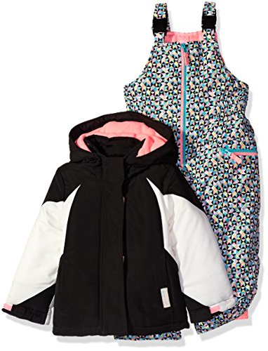 Carter's Little Girls' Color Block Active 2 Pc Snowsuit With Print Pant, Black, 4