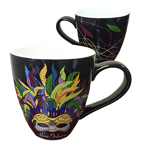 - New Orleans French Quarter Feather Mask Black Coffee Mug