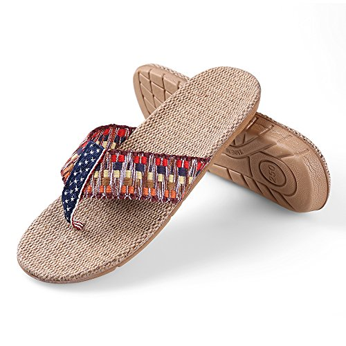 Aerusi Womens Girls Flax Sandals Flat Braided Wedge Antiskid Summer Shoe Flip Flops Deep Color urR8Xx