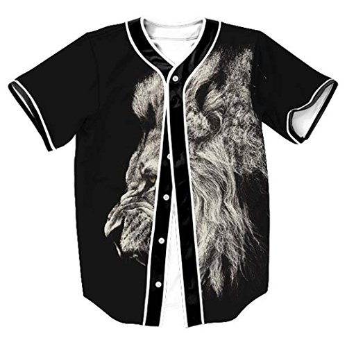 HOP FASHION Youth Unisex Hipster Baseball Basketball Football Jersey Short Sleeve 3D Print Dance Team Uniform Button Down Cardigan Shirt HOPM007-61-XL - Lions Throwback Jersey