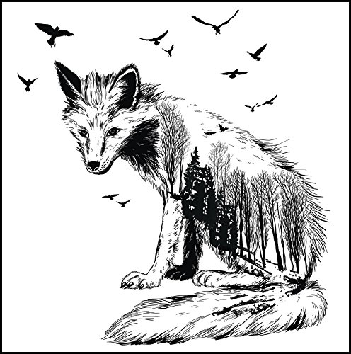 "Beautiful Majestic Pretty Animal Outline With Landscape Scenery Pen Illustration #8 - Fox Sitting Vinyl Sticker (Border Included Around Image As Shown) (8"" Tall) -  Shinobi Stickers, 623282132"