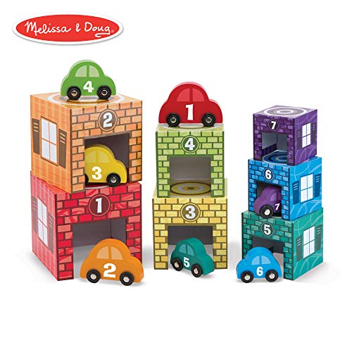 Melissa & Doug Nesting & Sorting Garages & Cars, Developmental Toys, Match-and-Stack Set, 7 Cars & Garages, 15.5
