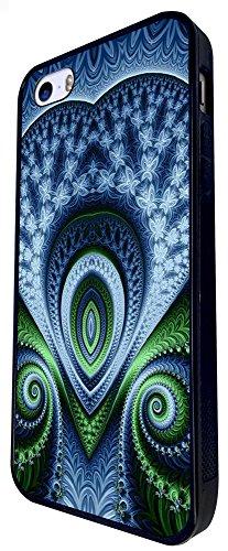 1216 - Shabby Chic Peacock Feathers Art Love Heart Design iphone SE - 2016 Coque Fashion Trend Case Coque Protection Cover plastique et métal - Noir