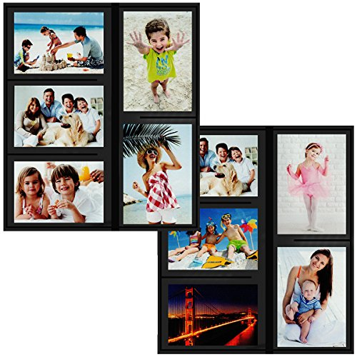 Godery Magnetic Picture Frames for refrigerator, Refrigerator Magnets, Picture Frame Collage, 2-Pack, Black by Godery