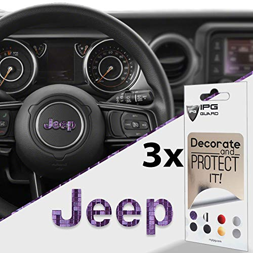 (IPG for Jeep Steering Wheel Overlay Decal Vinyl Cover Set of 3 for Emblem Do it Yourself Stickers Set Personalize Your Jeep (Purple to Blue Chameleon))