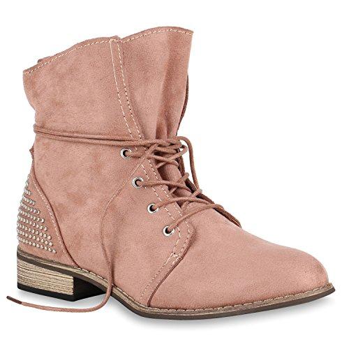 Schuhe Optik Flandell Arriate Stiefeletten Stiefelparadies Boots Schnürstiefeletten Leder Rosa Spitze Häkeloptik Zipper Damen Booties Blockabsatz Übergrößen PFCTq