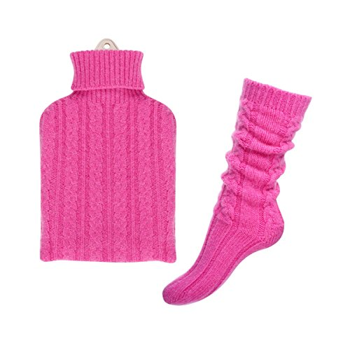 Pure Cashmere Hot Water Bottle and Bed sock Set (Bright P...