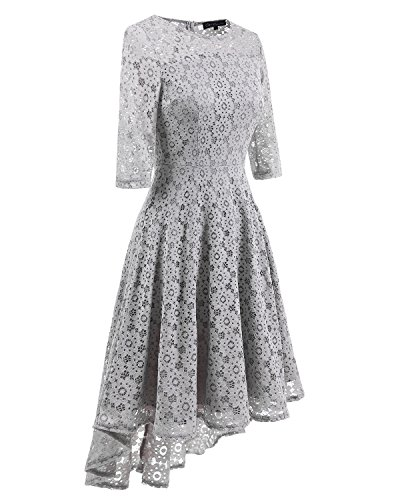 Elegant Gray Homecoming Adodress 2 lace1 Formal Swing Cocktail Boat Neck Sleeve Women's Long Dresses 55qPtRWBOr