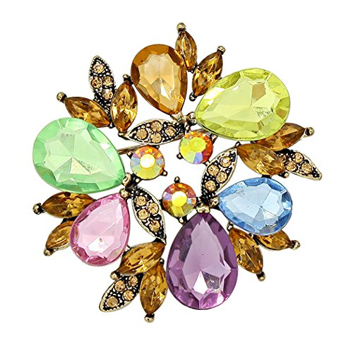 Rosemarie Collections Women's Sparkling Rhinestone Wreath Statement Brooch Pin (Spring Multicolor) (Brooch Wreath)