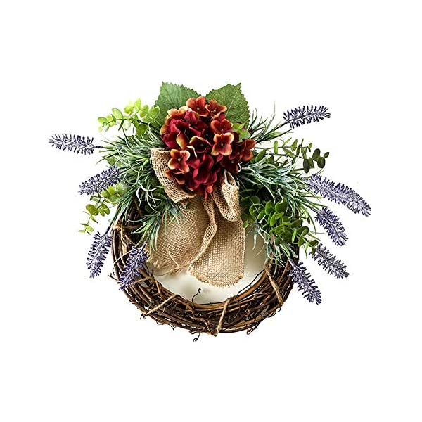 Liveinu Summer Wreath for Front Door or Indoor Wall Décor to Celebrate Spring & Summer Season Spring Wreath Lavender with Red Flower 15.6 Inch