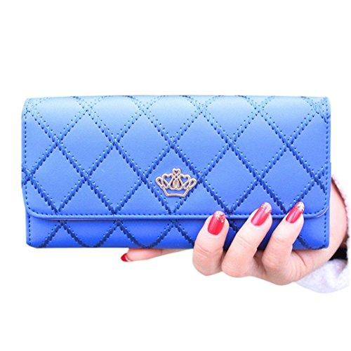 Bags Clutch Purse Crown Holder Blue Long Leather Handbag design��GINELO Women's Card Wallet 48qwxEd