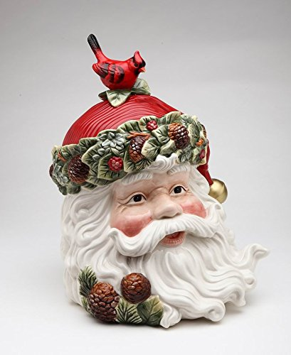 Fine Ceramic Hand Painted Christmas Santa with Red Cardinal and Pinecone Cookie Jar, 10 3/4