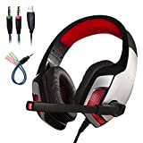 Mengshen Stereo Gaming Headset for PS4, Xbox One - Professional 3.5mm Over Ear Headphones with Mic, Noise Isolating, Bass Surround, Volume Control and LED Light - G5300 Red