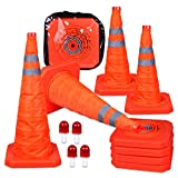 CARTMAN 27.5 inch Collapsible Traffic Cones with LED Light Multi Purpose Pop up Reflective Safety Cone 4PK