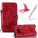 Strap Case for Samsung Galaxy S8,Flip Wallet Leather Cover for Samsung Galaxy S8,Herzzer Premium Pretty Elegant [Hot Pink Butterfly Flower Design] PU Leather Fold Stand Card Holders Smart Case Cover for Samsung Galaxy S8 + 1 x Free Pink Cellphone Kickstand + 1 x Free Pink Stylus Pen
