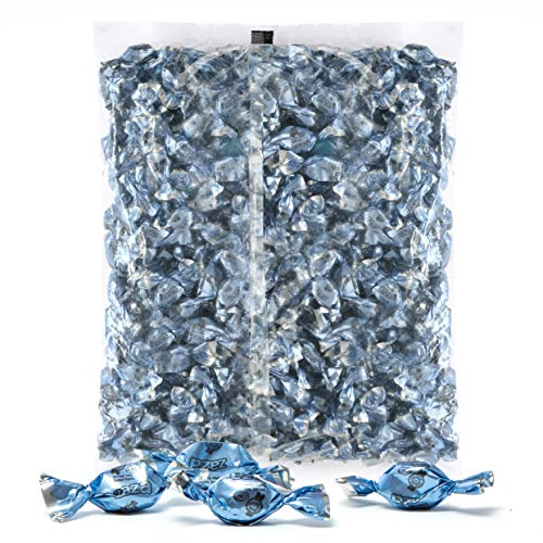 (Light Blue Foils Hard Candy, 1.32 Pounds Bag of Light Blue Color Themed Kosher Mini Candies Individually Wrapped Raspberry Fruit-Filled Flavored Candy (NET WT 600g, About 310 Pieces) )