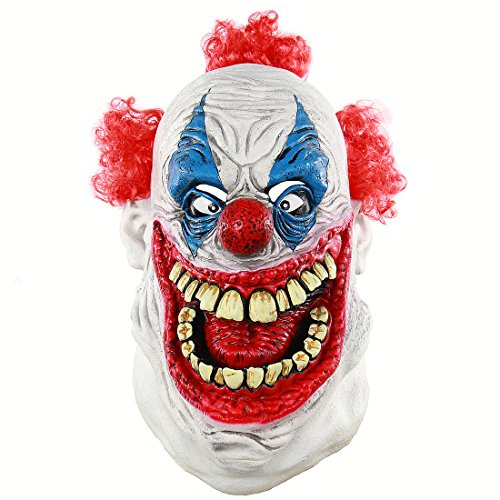 MICG Halloween Funny Scary Cosplay Evil Circus Clown Horror Demon Joker Mask (Big Mouth) -