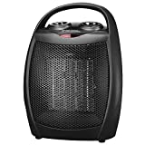 andily Space Heater Electric Heater with Thermostat for Office Use Black White 750W/1500W