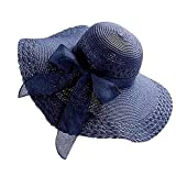 NRUTUP Women Colorful Big Brim Straw Bow Hat Sun Floppy Wide Brim Hats Beach Cap Navy,Free Size