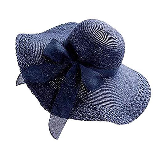 (XILALU Large Wide Brim Sun Hat for Women,Summer Colorful Straw Bow Hat Sun Floppy Beach Cap Navy)