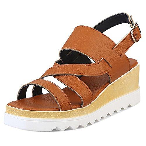 e238d5fc RAZAMAZA Mujer Correas Plataforma Tacon de Cuna Sandalias Slingback Zapatos  con Hebilla Amarillo