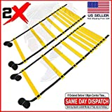FITNESS MANIAC 2X Speed Agility Ladder Soccer Sport Training Tools Carry Bag Fitness Feet 15ft Footwork Exercise Equipment Workout (One Pair)