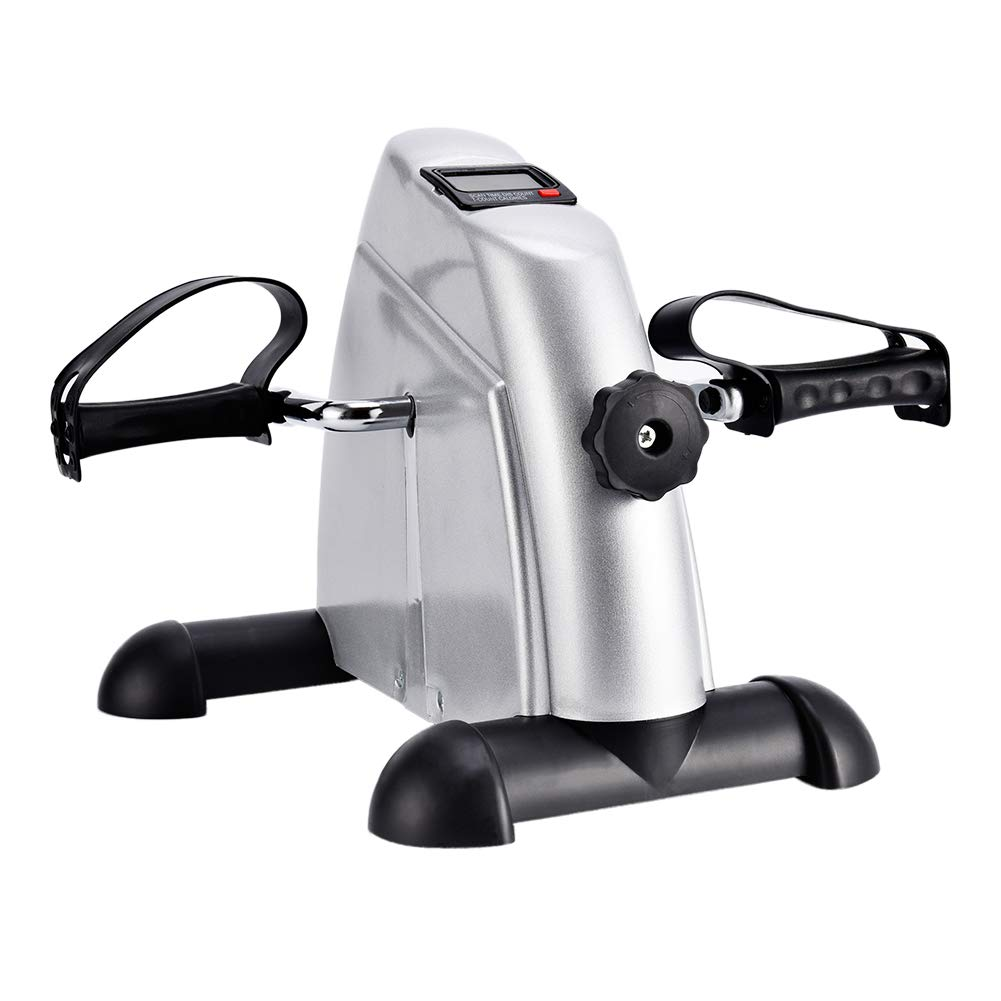SYNTEAM Mini Exercise Bike with Electronic Display Under Desk Bike Arms Legs Exercise Machine (LWB02, Silver) by Synteam (Image #2)