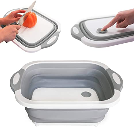 Details about  /3 In 1 Kitchen Colander Cutting Board Drain Basket Durable Tools Portable