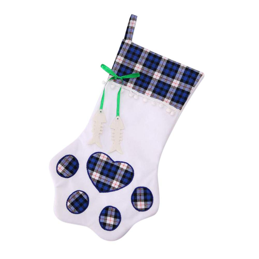 TIFENNY Plaid Bags Pet Dog Cat Paw Stocking Socks Xmas Tree Ornaments Pocket