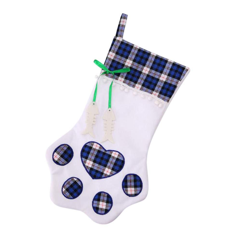 Nadition Christmas Ornament  2018 New Plaid Bags Pet Dog Cat Paw Stocking Socks Xmas Tree Ornaments (Blue)