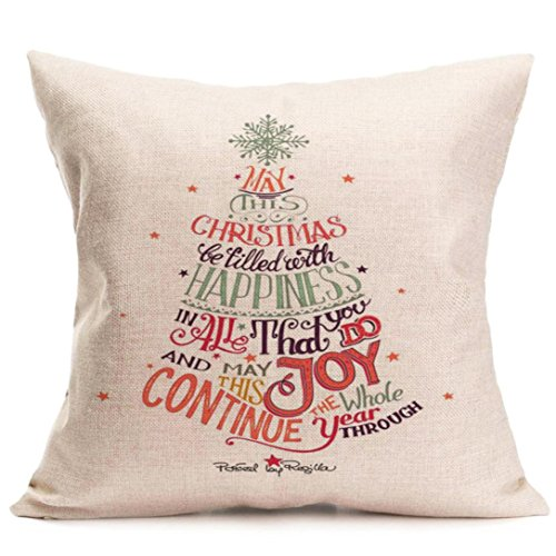 Price comparison product image Gotd Merry Christmas Pillow Case Xmas 18 x 18 Cushion Cover Merry Chritmas Home Decor Design Throw Pillow Cover Pillow Case 18 x 18 Inch Cotton Linen for Sofa (Gift I)