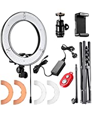 Neewer 12-inch Inner/14-inch Outer LED Ring Light and Light Stand 36W 5500K Lighting Kit with Soft Tube,Color Filter,Hot Shoe Adapter,Bluetooth Receiver for Camera Smartphone YouTube Video Shooting