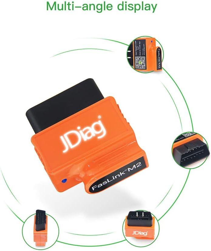Carrfan JDiag verbesserte BT FASLINK M2 OBDII Scanner Berufsfahrzeug Diagnosewerkzeug Automotor Codeleser f/ür IOS und Android mit Sprachsteuerungsfunktion