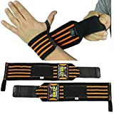"Deluxe Wrist Wraps 13"" Long (1 Pair /2 Wraps) for WEIGHT LIFTING TRAINING WRIST SUPPORT COTTON WRAPS GYM BANDAGE STRAPS For Men & Women Premium Quality! PRO Rubber Puller"