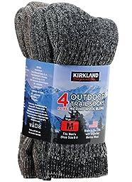 Kirkland Signature Men\'s Outdoor Trail Sock Merino Wool Blend Assorted Pack 4 pair (Medium)