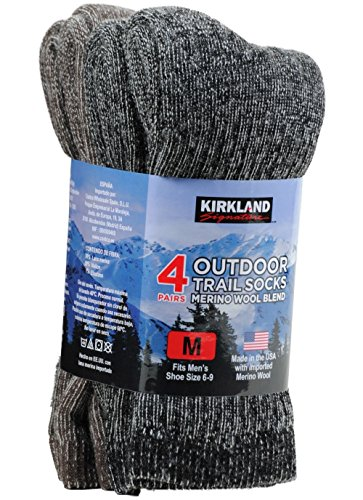 Kirkland Signature Men's Outdoor Trail Sock Merino Wool Blend Assorted Pack...