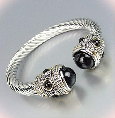 Gorgeous Chunky Balinese Silver Bracelet Dots Cable Black Pearl End Tips Cuff Bracelets For Women