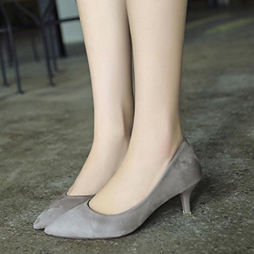 Scarpe Da Donna Col Tacco Alto Delle Donne Di Sikye Donne Poco Profonde Elegante Scarpe Da Lavoro Da Ufficio Signore Grigio