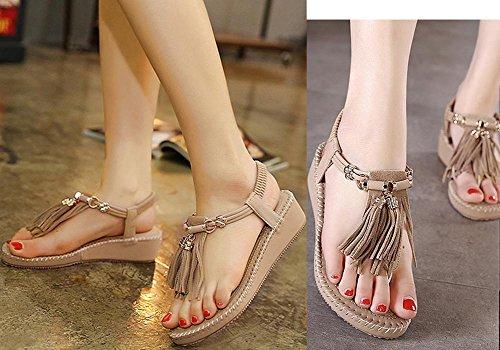 Beige6 Thong Casual Womens Flats Ladies Shoes Flops Sandals KUFV Post Toe Summer Flip AqB7wtxn4v