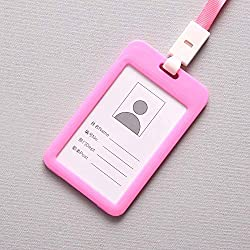 Fan-Ling Double-Sided Transparent Employee Work Card Holder,Portable Colorful Employee Plastic ID Card Holder Name Tag Lanyard Neck Strap,11 X 7cm (Pink)