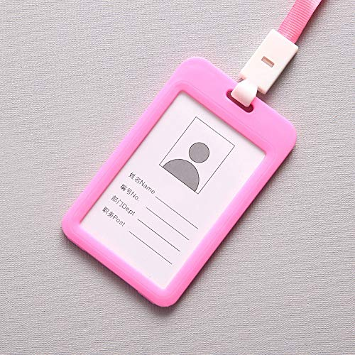 Fan-Ling Double-Sided Transparent Employee Work Card Holder,Portable Colorful Employee Plastic ID Card Holder Name Tag Lanyard Neck Strap,11 X 7cm (Pink) (Pink Filing Cabinet)