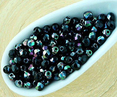 100pcs Opaque Jet Black Metallic Apricot Medium Dichroic Vitrail Luster Half Round Faceted Fire Polished Small Spacer Czech Glass Beads 3mm