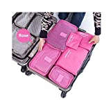 6-Piece Packing Cubes Set with Laundry Bag By- Clickus Multifuctional Water Resistant Mesh Clothing Storage Packages, Compression Travel Luggages Packing Organizer Pouch (Baby Pink)