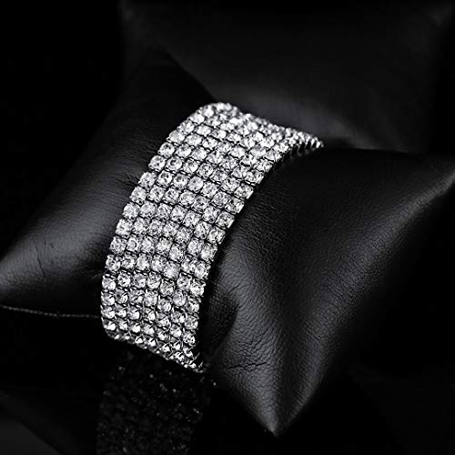 Ido4U 5 Strand Rhinestone Stretch Bracelet Silver Plated Artificial Crystal for Christmas Birthday Meaningful Gift (5pcs 4.33